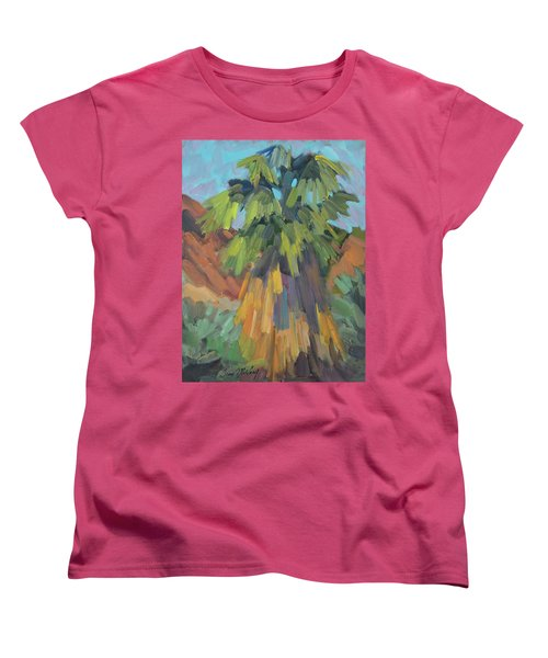 Women's T-Shirt (Standard Cut) featuring the painting Palm At Santa Rosa Mountains Visitors Center by Diane McClary
