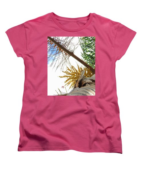 Women's T-Shirt (Standard Cut) featuring the photograph Palm Sky View by Linda Hollis