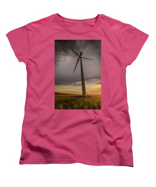 Women's T-Shirt (Standard Cut) featuring the photograph Palouse Windmill At Sunrise by Chris McKenna