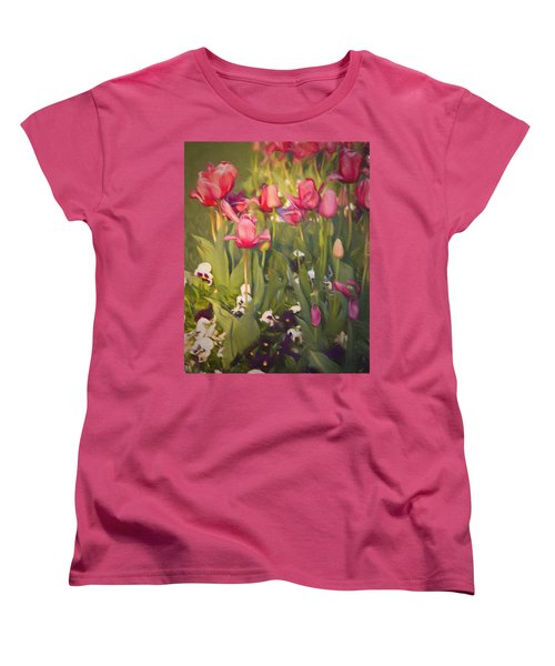 Women's T-Shirt (Standard Cut) featuring the photograph Pansies And Tulips by Lana Trussell