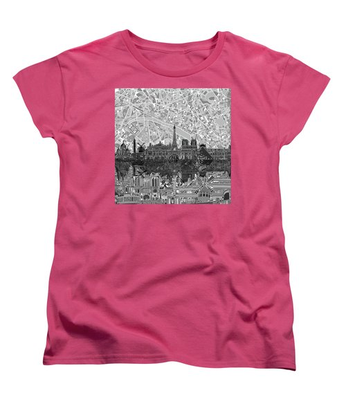 Women's T-Shirt (Standard Cut) featuring the painting Paris Skyline Black And White by Bekim Art