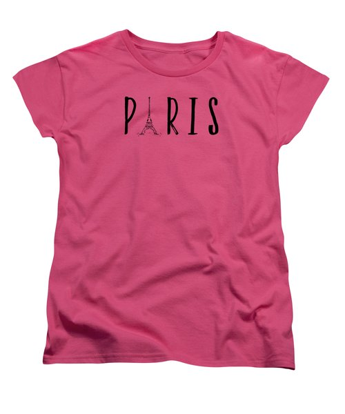 Paris Typography Panoramic Women's T-Shirt (Standard Cut)