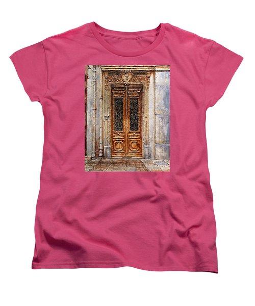 Women's T-Shirt (Standard Cut) featuring the painting Parisian Door No.7 by Joey Agbayani