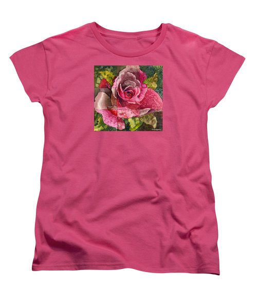 Women's T-Shirt (Standard Cut) featuring the painting Partitioned Rose IIi by Anne Gifford