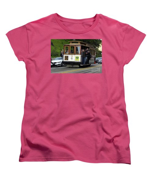 Women's T-Shirt (Standard Cut) featuring the photograph Passenger Waves From A Cable Car by Steven Spak