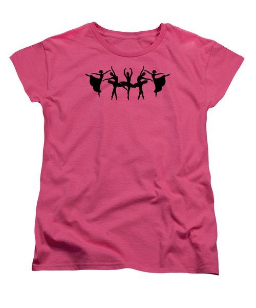 Passionate Dance Ballerina Silhouettes Women's T-Shirt (Standard Cut) by Irina Sztukowski