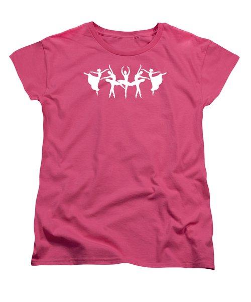 Passionate Dance Ballerinas Silhouettes In White Women's T-Shirt (Standard Cut) by Irina Sztukowski