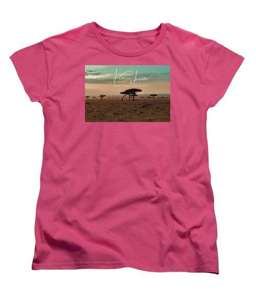 Women's T-Shirt (Standard Cut) featuring the photograph Pastel Dawn On The Mara by Karen Lewis