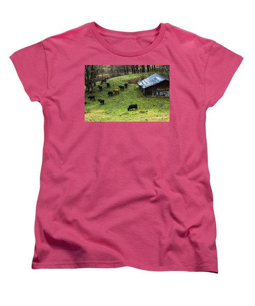 Pasture Field And Cattle Women's T-Shirt (Standard Cut) by Thomas R Fletcher