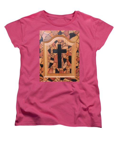 Women's T-Shirt (Standard Cut) featuring the pyrography Patchwork And Cross by Lisa Brandel