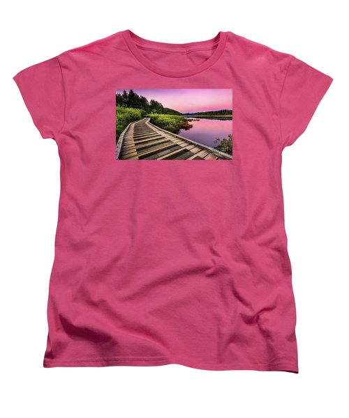Path By The Lake Women's T-Shirt (Standard Cut) by Rod Jellison