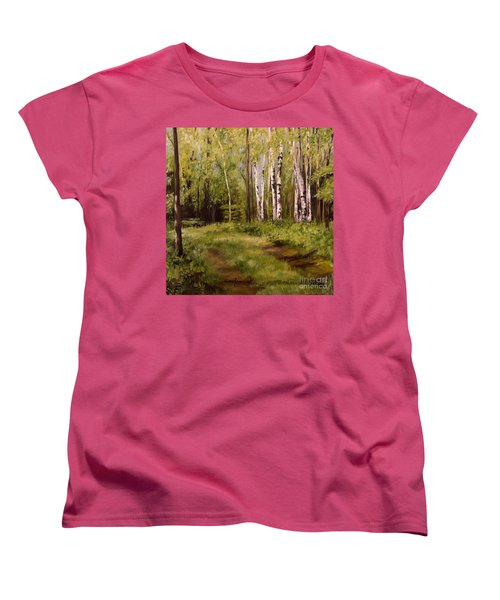 Women's T-Shirt (Standard Cut) featuring the painting Path To The Birches by Laurie Rohner
