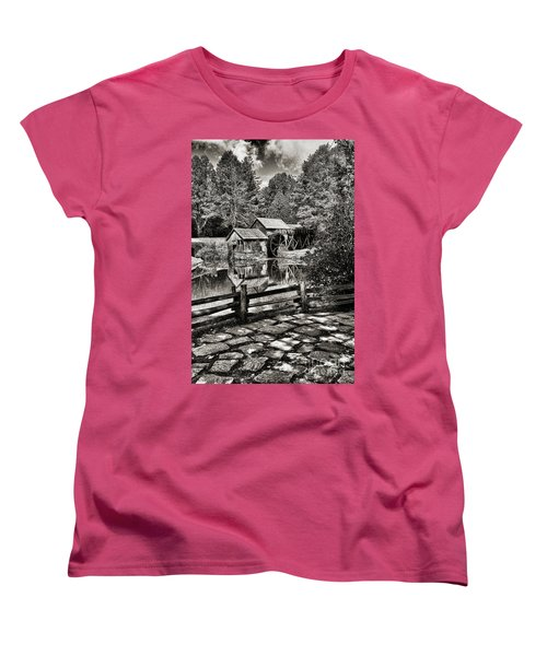 Women's T-Shirt (Standard Cut) featuring the photograph Pathway To Marby Mill In Black And White by Paul Ward