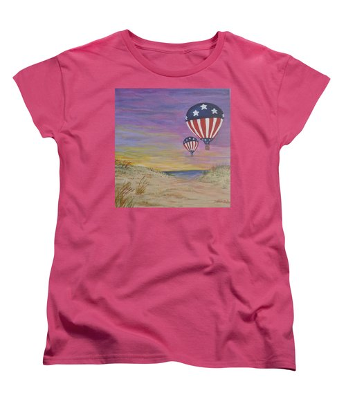 Women's T-Shirt (Standard Cut) featuring the painting Patriotic Balloons by Debbie Baker