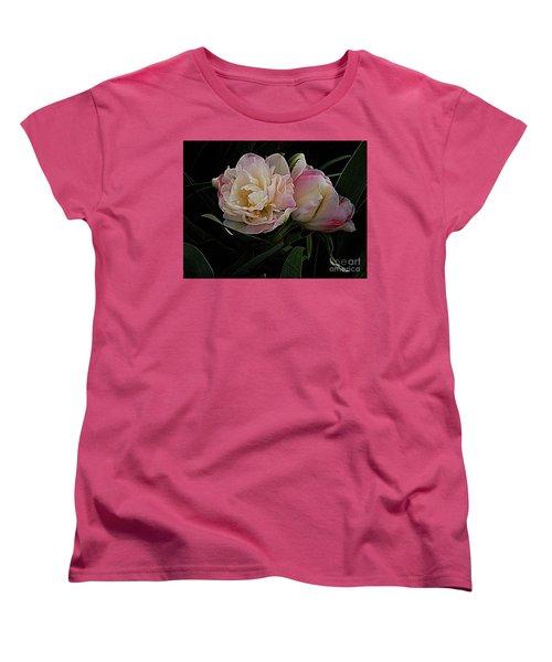Pe0ny Tulip Duet 2 Women's T-Shirt (Standard Cut) by Nancy Kane Chapman