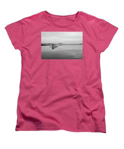 Women's T-Shirt (Standard Cut) featuring the photograph Peaceful Tidepool On The Outer Banks Bw by Dan Carmichael