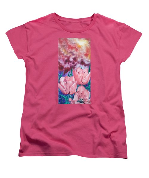 Women's T-Shirt (Standard Cut) featuring the painting Peachypink Tulips by Sigrid Tune