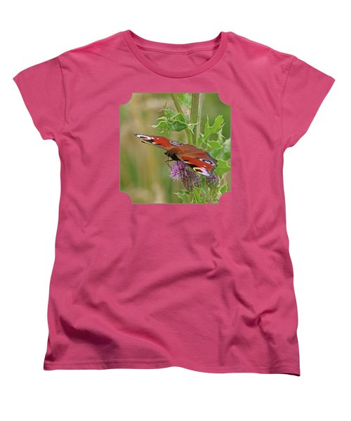Peacock Butterfly On Thistle Square Women's T-Shirt (Standard Cut) by Gill Billington