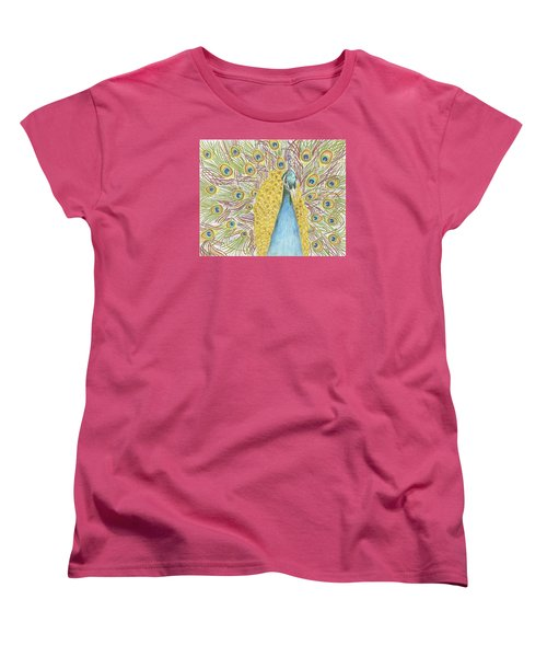 Women's T-Shirt (Standard Cut) featuring the drawing Peacock One by Arlene Crafton