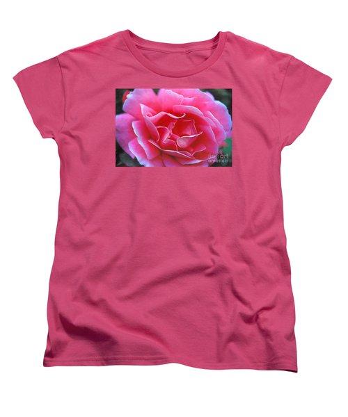 Women's T-Shirt (Standard Cut) featuring the photograph Peggy Lee Rose Bridal Pink by David Zanzinger