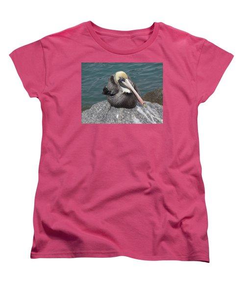 Women's T-Shirt (Standard Cut) featuring the photograph Pelican by John Mathews