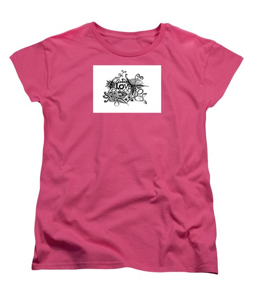 Women's T-Shirt (Standard Cut) featuring the drawing Pen And Ink Art Love Black And White Art by Saribelle Rodriguez