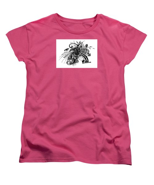 Pen And Ink Drawing Rose Women's T-Shirt (Standard Cut) by Saribelle Rodriguez