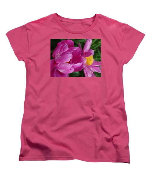 Peonies In Pink Women's T-Shirt (Standard Cut) by Rebecca Overton