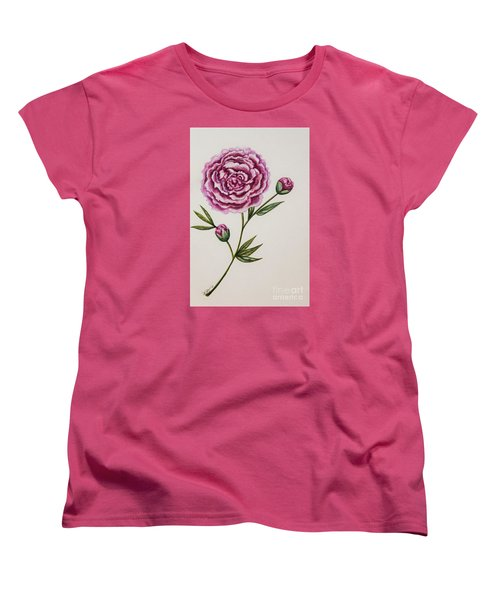 Women's T-Shirt (Standard Cut) featuring the painting Peony Botanical by Elizabeth Robinette Tyndall