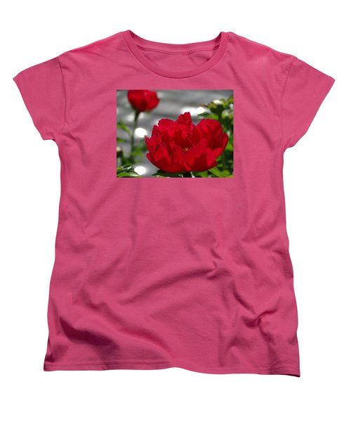 Peony In Red Women's T-Shirt (Standard Cut) by Rebecca Overton