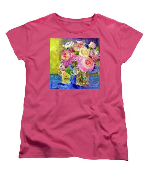 Women's T-Shirt (Standard Cut) featuring the painting Peony Love by Rosemary Aubut