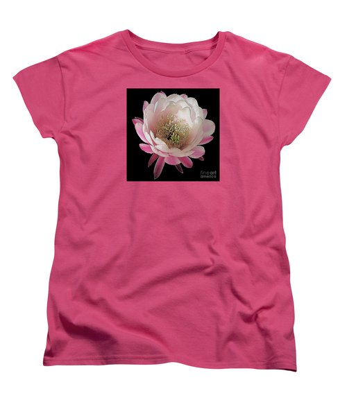 Perfect Pink And White Cactus Flower Women's T-Shirt (Standard Cut) by Merton Allen