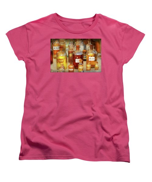 Women's T-Shirt (Standard Cut) featuring the photograph Pharmacy - Serums And Elixirs by Mike Savad