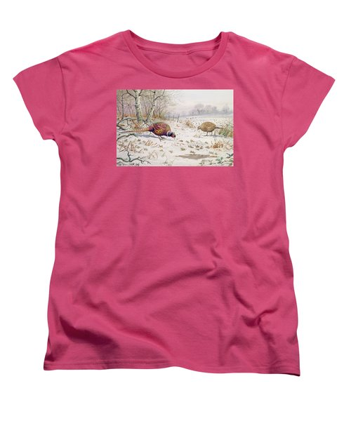 Pheasant And Partridge Eating  Women's T-Shirt (Standard Cut) by Carl Donner