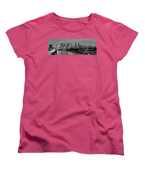 Philadelphia Philly Skyline At Dusk From Near South Bw Black And White Panorama Women's T-Shirt (Standard Cut) by Jon Holiday