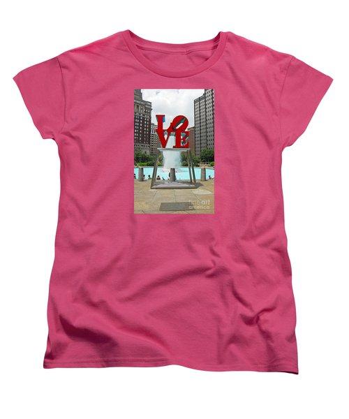 Philadelphia's Love Park Women's T-Shirt (Standard Cut) by Cindy Manero