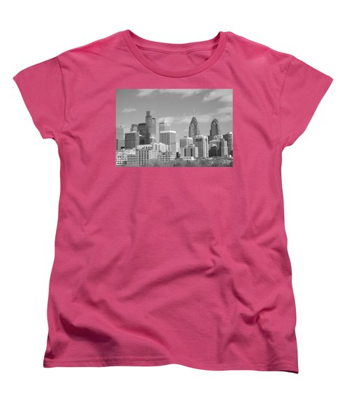 Philly Skyscrapers Black And White Women's T-Shirt (Standard Cut) by Jennifer Ancker