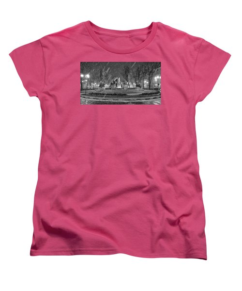 Women's T-Shirt (Standard Cut) featuring the photograph Piazza Solferino In Winter-1 by Sonny Marcyan