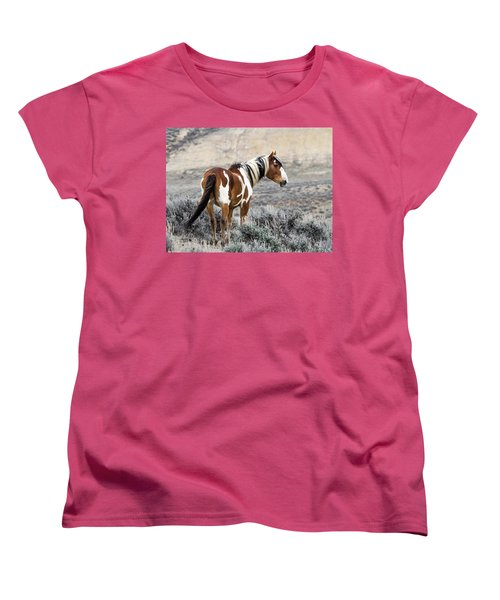 Picasso - Wild Mustang Stallion Of Sand Wash Basin Women's T-Shirt (Standard Cut) by Nadja Rider