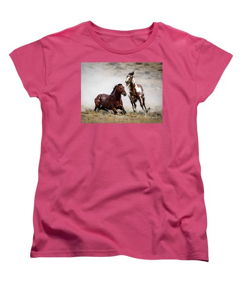 Picasso - Wild Stallion Battle Women's T-Shirt (Standard Cut) by Nadja Rider