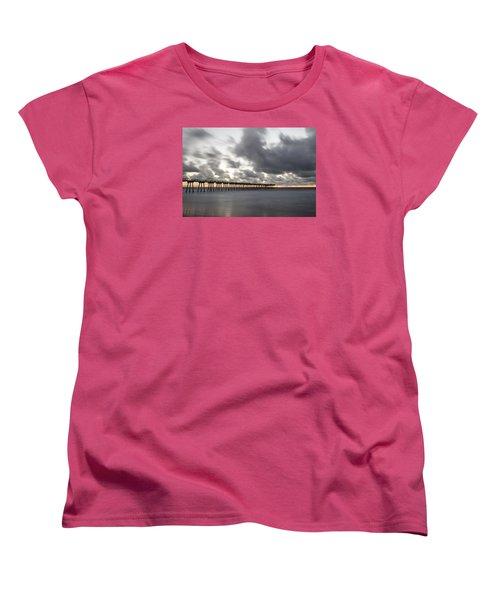 Pier In Misty Waters Women's T-Shirt (Standard Cut) by Ed Clark