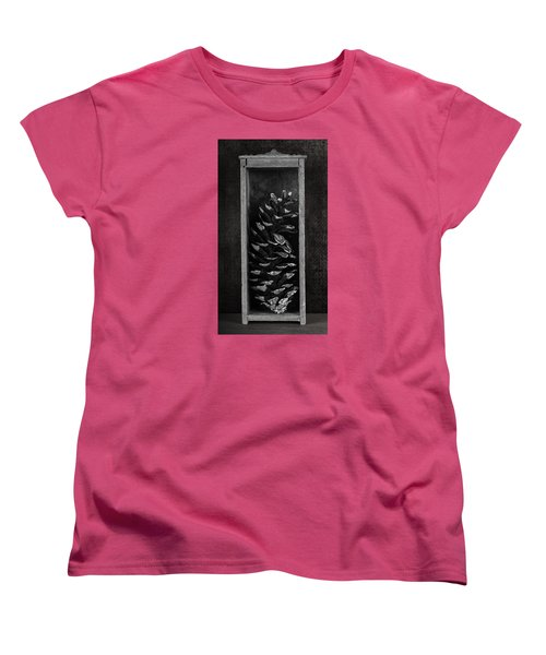 Pine Cone In A Box Still Life Women's T-Shirt (Standard Cut) by Tom Mc Nemar