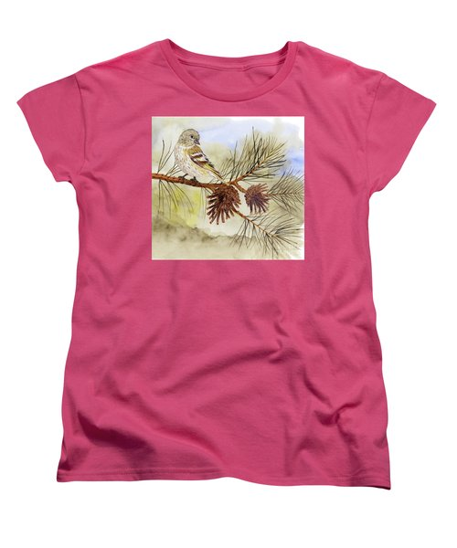 Women's T-Shirt (Standard Cut) featuring the painting Pine Siskin Among The Pinecones by Thom Glace