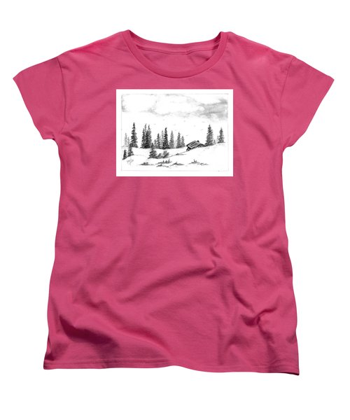 Women's T-Shirt (Standard Cut) featuring the drawing Pinetree Cabin by Terri Mills
