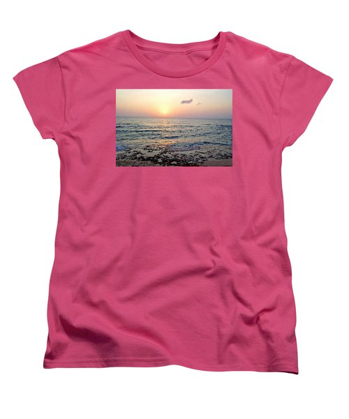 Women's T-Shirt (Standard Cut) featuring the photograph Pink And Purple Sunset Over Grand Cayman by Amy McDaniel