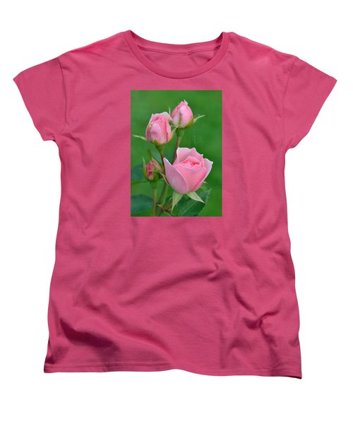 Pink And The Buds Women's T-Shirt (Standard Cut) by Janet Rockburn