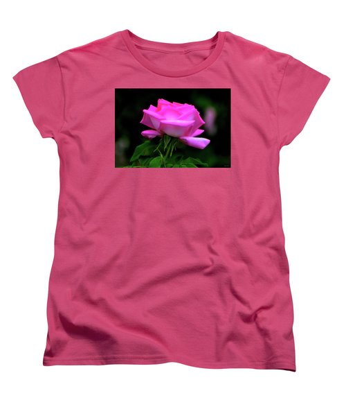 Women's T-Shirt (Standard Cut) featuring the photograph Pink And White Rose 005 by George Bostian