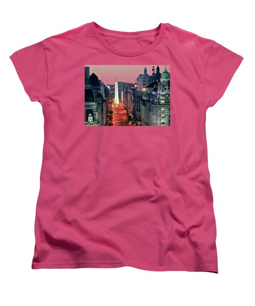 Women's T-Shirt (Standard Cut) featuring the photograph Pink Buenos Aires  by Bernardo Galmarini