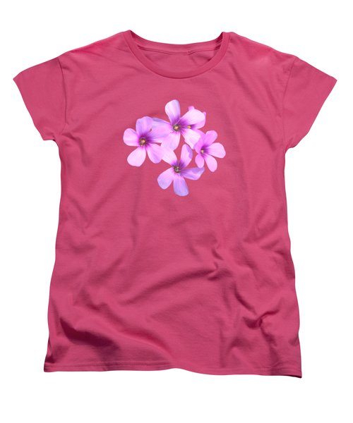 Pink Cutout Flowers Women's T-Shirt (Standard Cut) by Linda Phelps