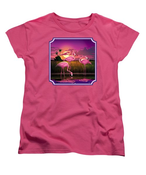 Pink Flamingos At Sunset Tropical Landscape - Square Format Women's T-Shirt (Standard Cut) by Walt Curlee